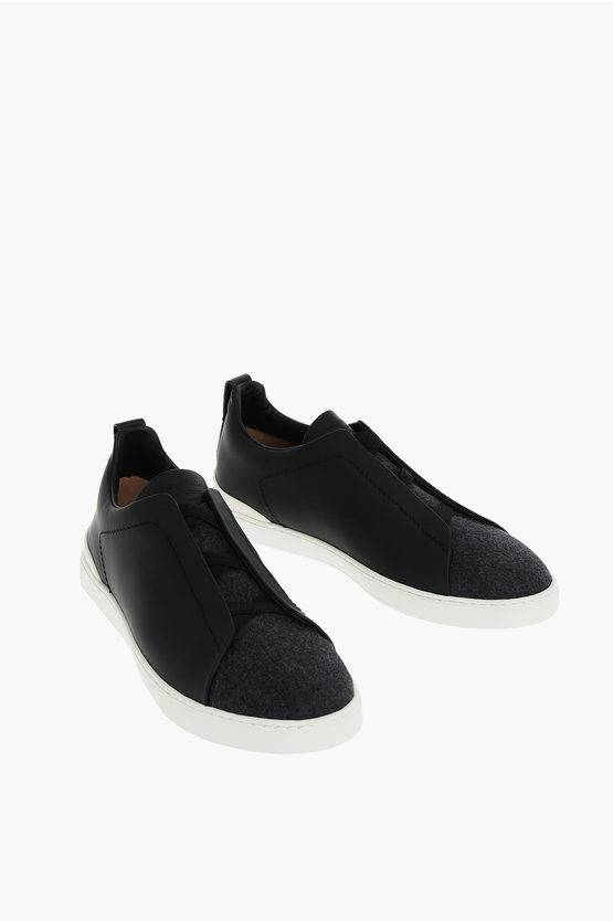 Zegna COUTURE XXX Sneakers Slip On SIRACUSA in Pelle taglia 8,5