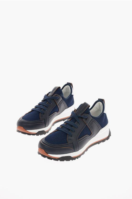 Zegna EZ LUXURY Sneakers SIRACUSA in Pelle e Tessuto taglia 10
