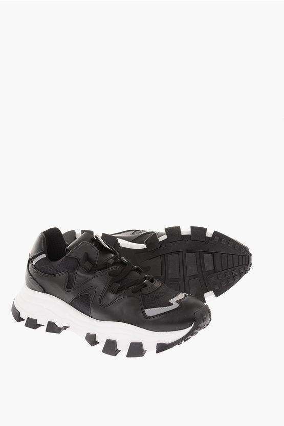 Cinzia Araia Sneakers in Pelle e Tela con Suola Track taglia 39