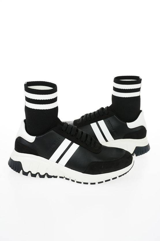 Neil Barrett Sneakers MID HYBRID SOCK in Pelle e Tessuto taglia 40
