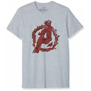 Marvel Avengers Cracked T-Shirt, Grigio (Grey Marl Spo), (Taglia Produttore: Small) Uomo