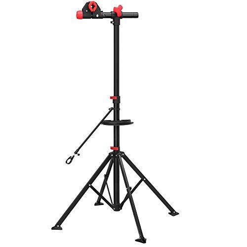 songmics cavalletto per riparazione bici con ripiano per attrezzi, portabici professionale telescopico per manutenzione a sgancio rapido, leggero e portatile, rosso e nero sbr02b