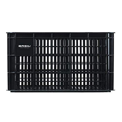 basil crate l, portabici per il portapacchi anteriore. unisex-adulti, nero, 50 cm x 36 cm x 27 cm