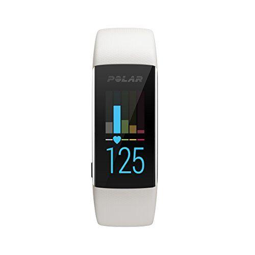 polar a370, activity tracker per fitness, monitoraggio attivit fisica con cardiofrequenzimetro integrato, display touch screen unisex-adulto, bianco, m/l