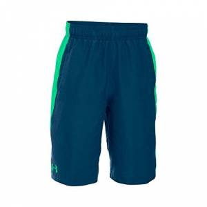 Under Armour, Impulse Woven Short, Pantaloncino, Bambino, Blu (Blackout Navy/Vapor Green/Vapor Green 997), L