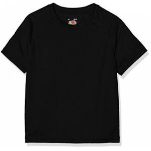 Fruit of the Loom New Kids Sport T-Shirt, Nero, 12-13 Anni Bambino