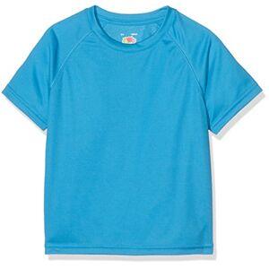 Fruit of the Loom Performance T-Shirt, Blu (Azure), 7-8 Anni Unisex-Bimbi
