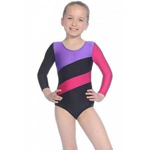 Roch Valley - Body da Ginnastica da Ragazza, Black/Purple/Raspberry, 5-6 UK(110-116cm EU)