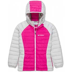 Columbia Sportswear Powder Lite - Giacca da ragazza, Bambina, Giacca, 1802932, Pink Ice, Silve., 3 ANNI