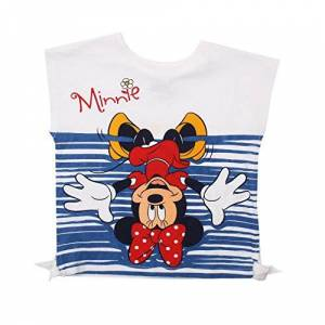 Disney Minnie Mouse-Upside Down-Kid T-White Giacca, Bianco, S Bambina