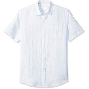 Amazon Essentials - Camicia da uomo a maniche corte in lino, a quadretti, vestibilit standard, Light Blue Gingham, US XS (EU XS)