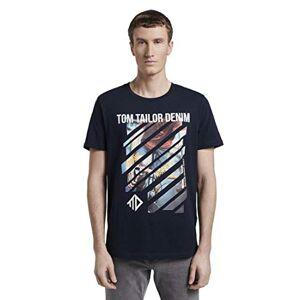 Tom Tailor Fotoprint T-Shirt, 10668/Sky Captain Blue, M Uomo