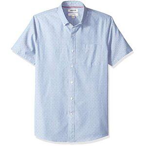 Goodthreads Marchio Amazon - Goodthreads, camicia da uomo a maniche corte, aderente, in tessuto dobby, Blu (Blue Diamond Dia), US S (EU S)