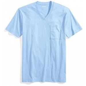 Goodthreads Short-Sleeve V-Neck Cotton Pocket T-Shirt, Blu (Light Blue), Medium