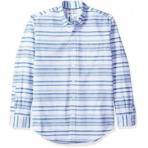Amazon Essentials Regular-Fit Long-Sleeve Stripe Pocket Oxford Camicia, (Blue Horizontal Blu), US (EU XS)