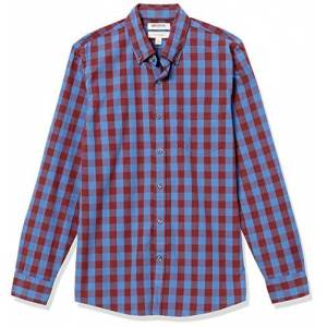 Goodthreads Slim-Fit Long-Sleeve Large-Scale Check Shirt Camicia, Rosso (Blue/Burgundy), Small