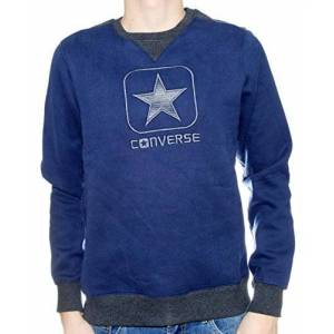 Converse FL Sweat Logo Man Cl CR Neck E Felpa, Night Navy/Phantom Mel, XXL (54) Uomo