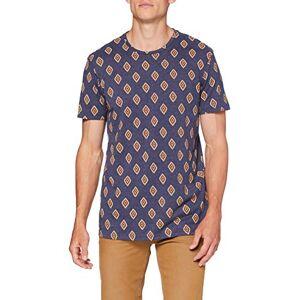 Springfield 5mi AOP Rombo Navajo-c/12 T-Shirt, Blu (Medium_Blue 12), Uomo