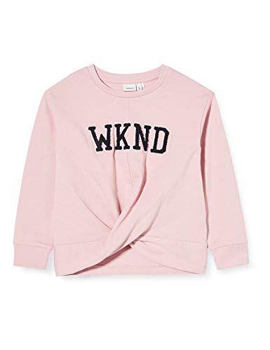 name it nkfberethe ls sweat box unb maglia di tuta, nettare rosa, 122-128 bambina