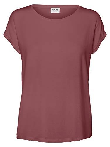 Vero Moda Vmava Plain SS Top Ga Noos T-Shirt, Rose Brown, S Donna