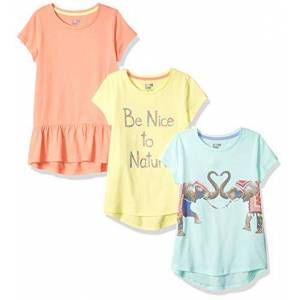 Spotted Zebra 3-Pack Short-Sleeve Tunic Tops T-Shirt, Multicolore (Be Nice to Nature), (Taglia Produttore: X-Small 4-5)