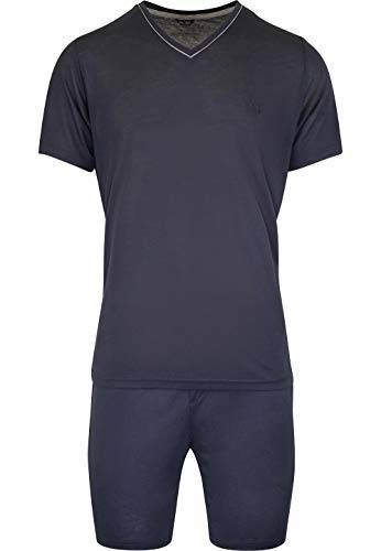 Hom - Uomo - Pigiama Corto 'Relax' - 2-Set Sonno Moda di Alta qualit - Navy - L