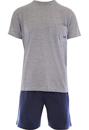 Hom - Uomo - Pigiama Corto 'Comfort' - 2-Set Sonno Moda di Alta qualit - Navy - XL