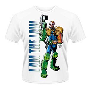Head Plastichead - Judge Dredd I Am The Law 2, T-Shirt da Uomo, Manica Corta, Bianco(Wei (White)), S