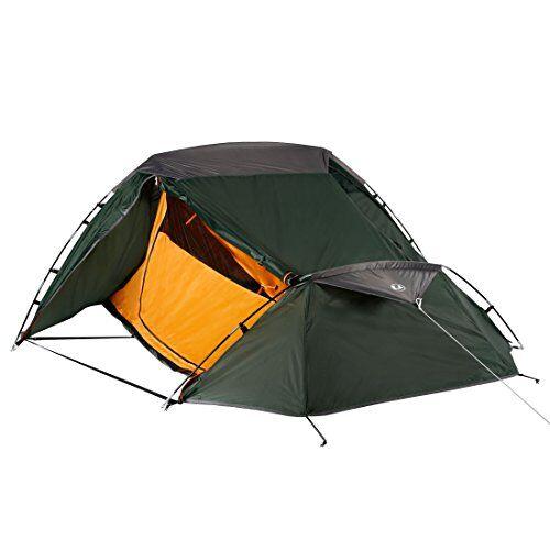 ultrasport tenda da campeggio per 2 persone, ottimo per festival, campeggio e trekking, fornita con borsa per il trasporto inclusa, colore verde/arancione