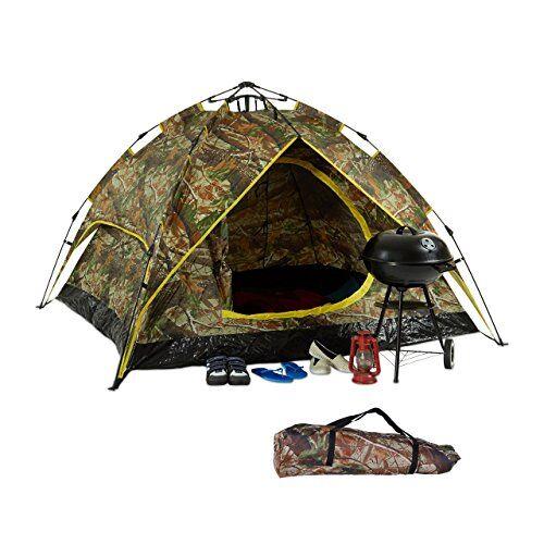 relaxdays 10023322 tenda da campeggio, 2-3 persone, sistema quick-up, 2 funzioni in 1, hxlxp: 115x200x150 cm, mimetica