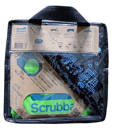 scrubba kit lavasciuga bucato 2.0 da viaggio con lavatrice da campeggio wash bag, asciugamano microfibra xl, stendino biancheria, grucce salvaspazio