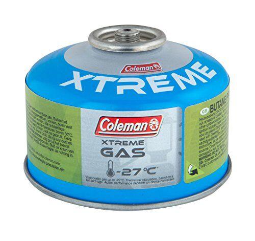 coleman c100 xtreme, cartuccia gas per fornello da campeggio, cartuccia a gas con valvola a vite, miscela butano propano, peso 100 g, per l'uso a temperature estreme fino a -27 c