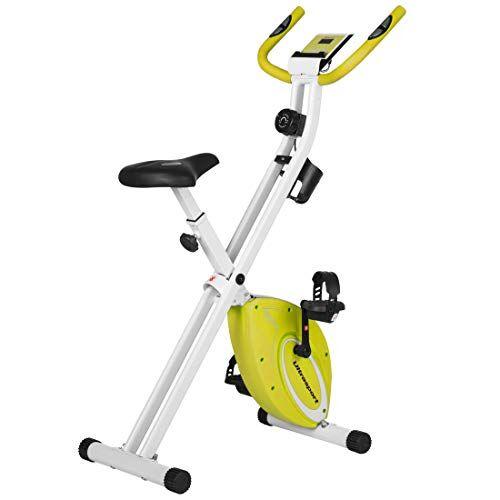 Ultrasport F-Bike Design, Cyclette da Allenamento, Home Trainer, Fitness Bike Pieghevole con Sella in Gel, con Portabevande, Display LCD, Sensori delle Pulsazioni, Capacità di Carico 110kg, Verde