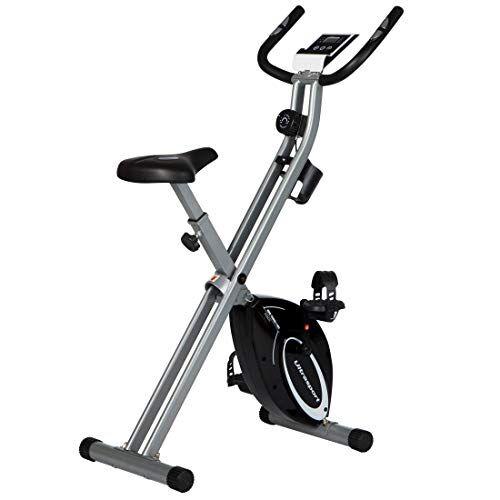 Ultrasport F-Bike Design, Cyclette da Allenamento, Home Trainer, Fitness Bike Pieghevole con Sella in Gel, con Portabevande, Display LCD, Sensori delle Pulsazioni, Capacità di Carico 110kg, Argento