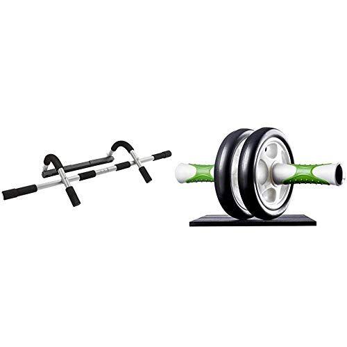 ultrasport set training da porta multifunzione, sbarra per sollevamento & ab roller attrezzo fitness maneggevole e trainer per muscoli addominali con supporto
