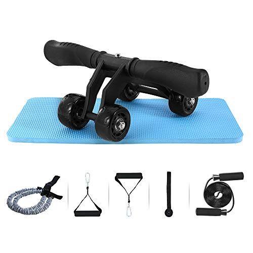 tomshoo 5-in-1 fitness workout set - ab wheel roller addominali +2 maniglie per flessioni + corda per saltare + pinza mano + palla da massaggio