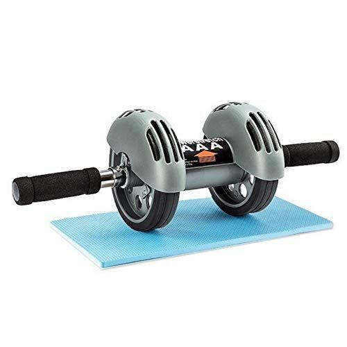 ffitness ab roller with spring back, ruota doppia per addominali unisex adulto, grigio, unica