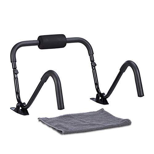 relaxdays, attrezzo per addominali ab roller, con piedi di appoggio, potenziamento muscolare unisex adulto, nero, m