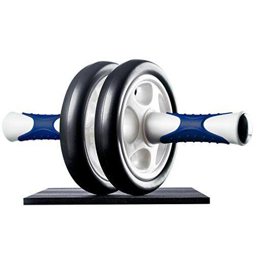 ultrasport attrezzo per addominali ab roller/trainer ab supporto per le ginocchia, allenamento addominali per uomini, donne e persone anziane, trainer muscolare pieghevole, blu marino, taglia unica