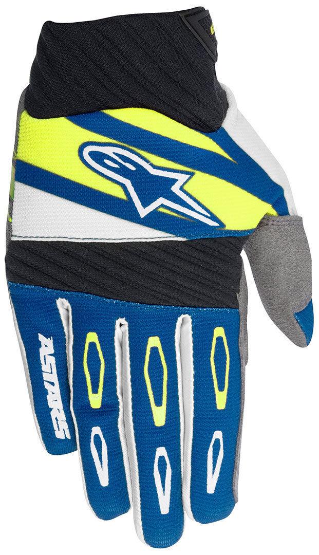 Alpinestars Techstar Factory Guanti Motocross Bianco Blu Giallo 2XL