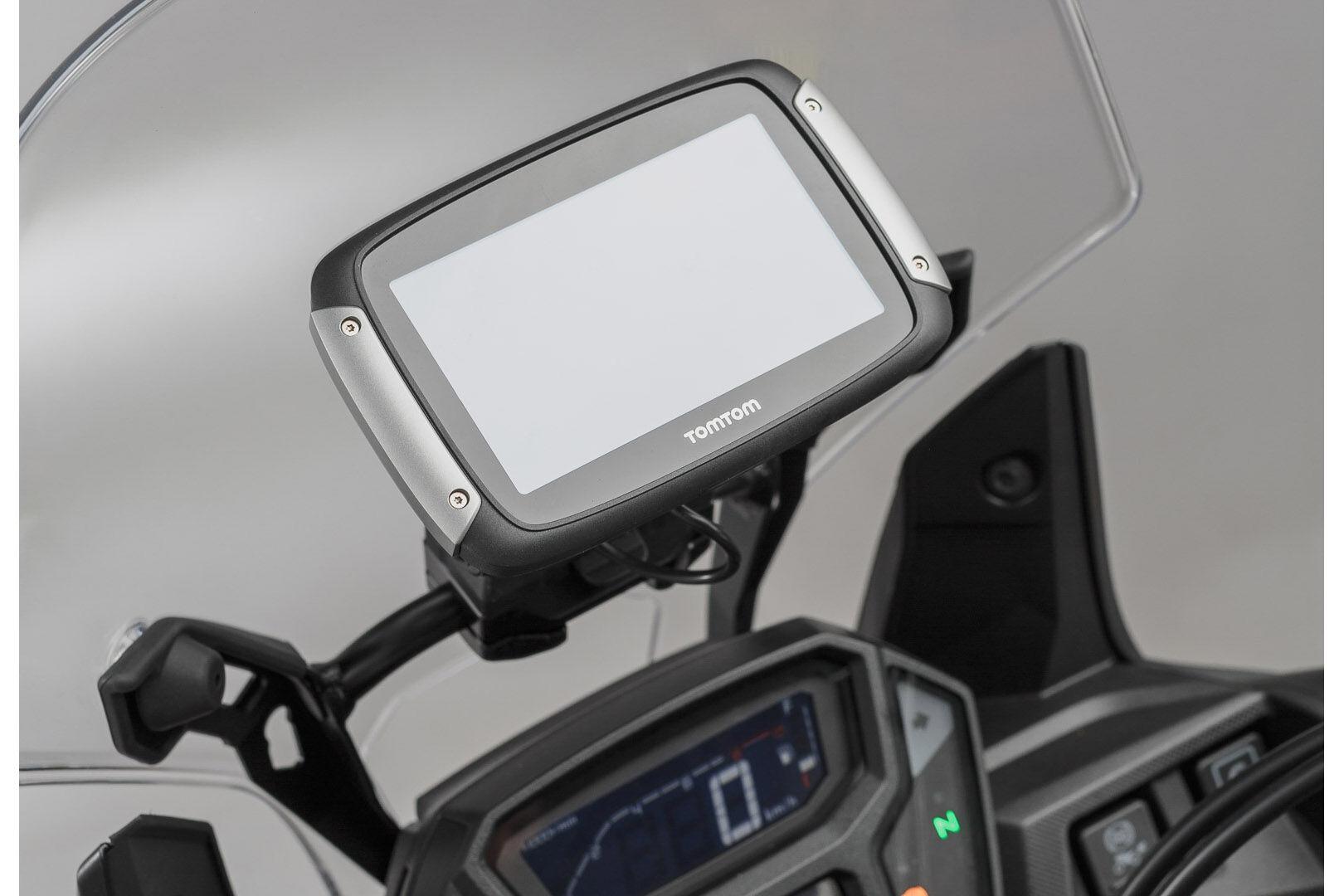 SW-Motech Supporto GPS per traversa Ø 10/12 mm nero