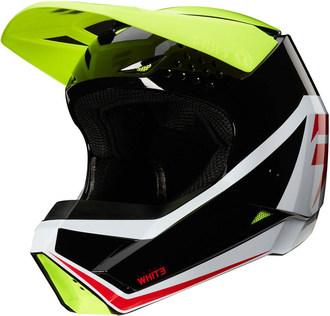 Shift Whit3 Label Race Graphic Casco Motocross per bambini Nero Bianco Giallo M