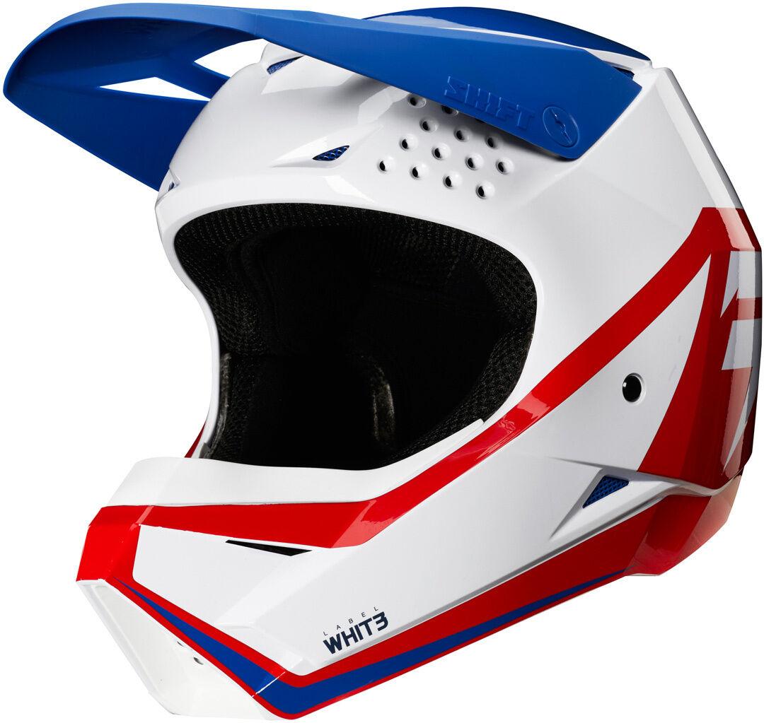 Shift Whit3 Label Race Graphic Casco Motocross per bambini Bianco Rosso Blu L