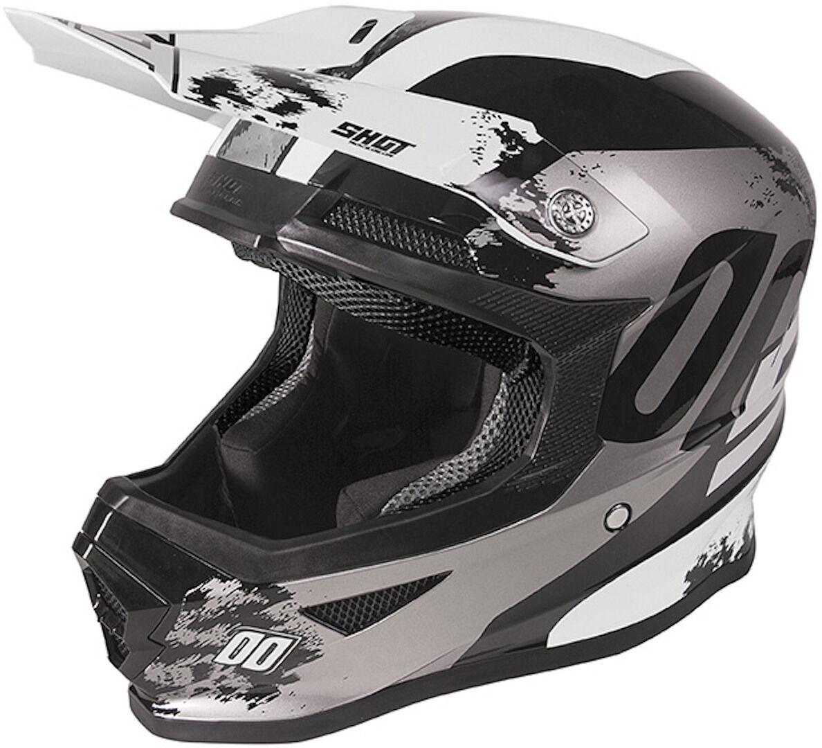 Shot Furious Shadow Kids Casco Motocross per bambini Nero Bianco S