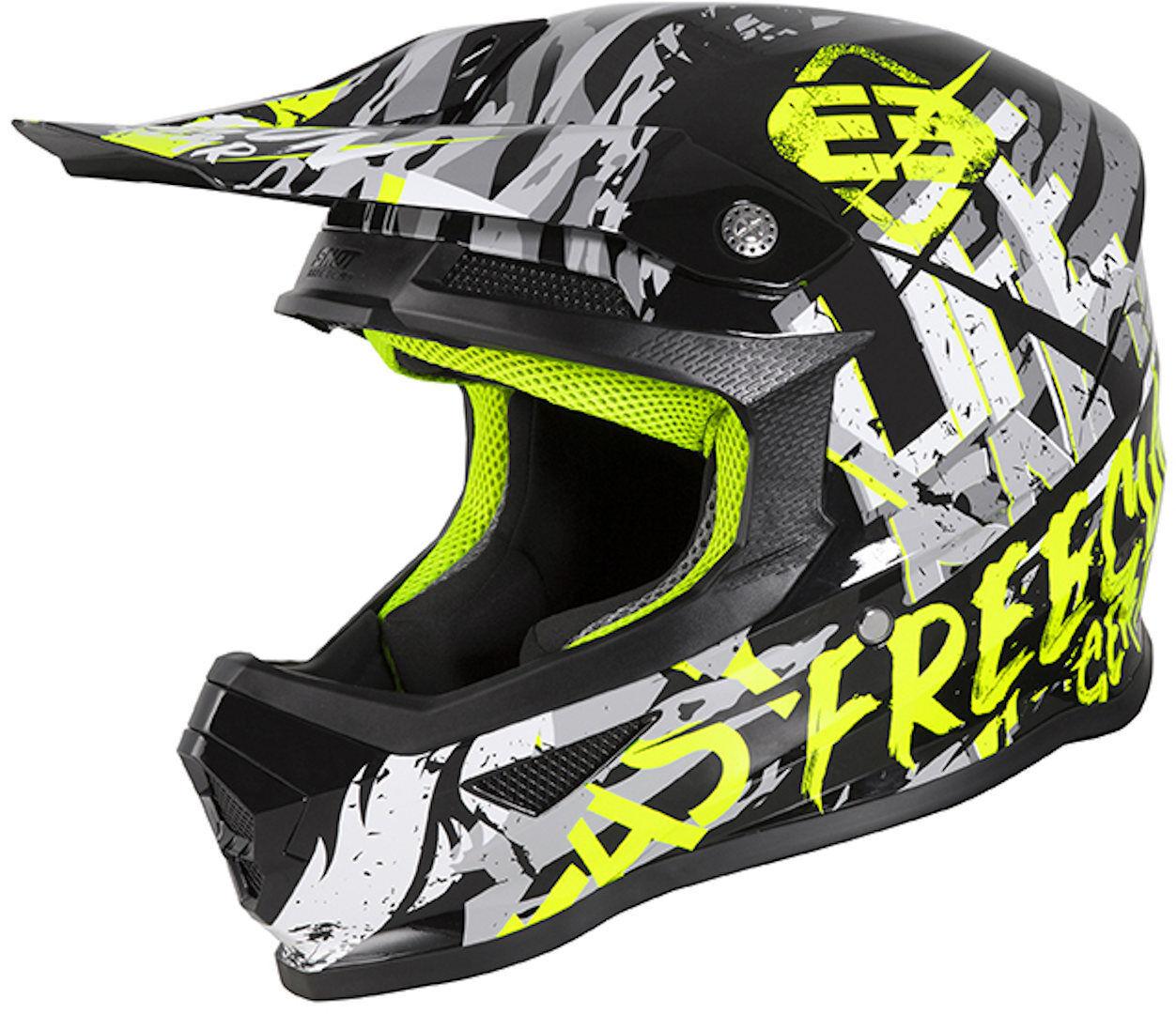 Freegun XP4 Maniac Casco Motocross per bambini Nero Giallo L