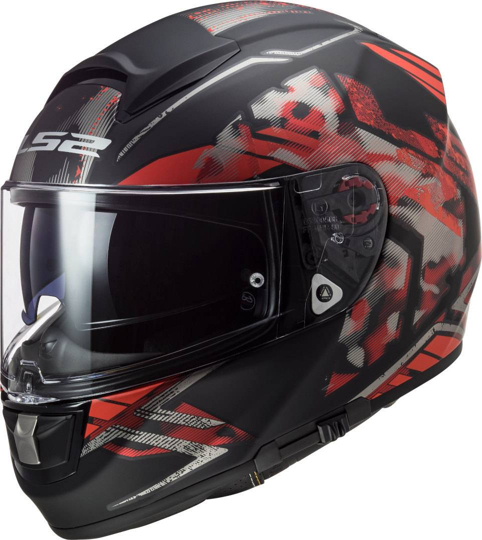 LS2 FF397 Vector Evo Stencil Casco Nero Rosso S