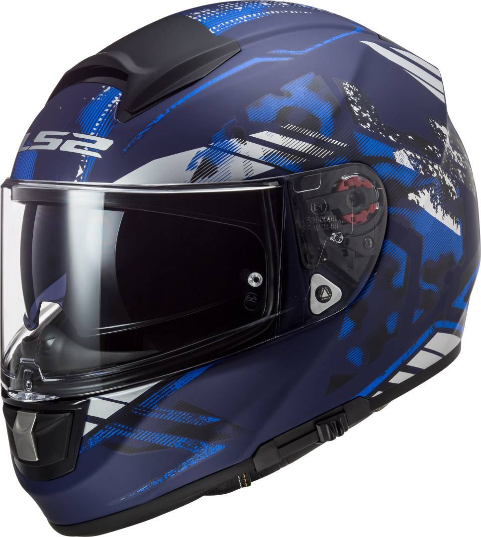 LS2 FF397 Vector Evo Stencil Casco Nero Blu L