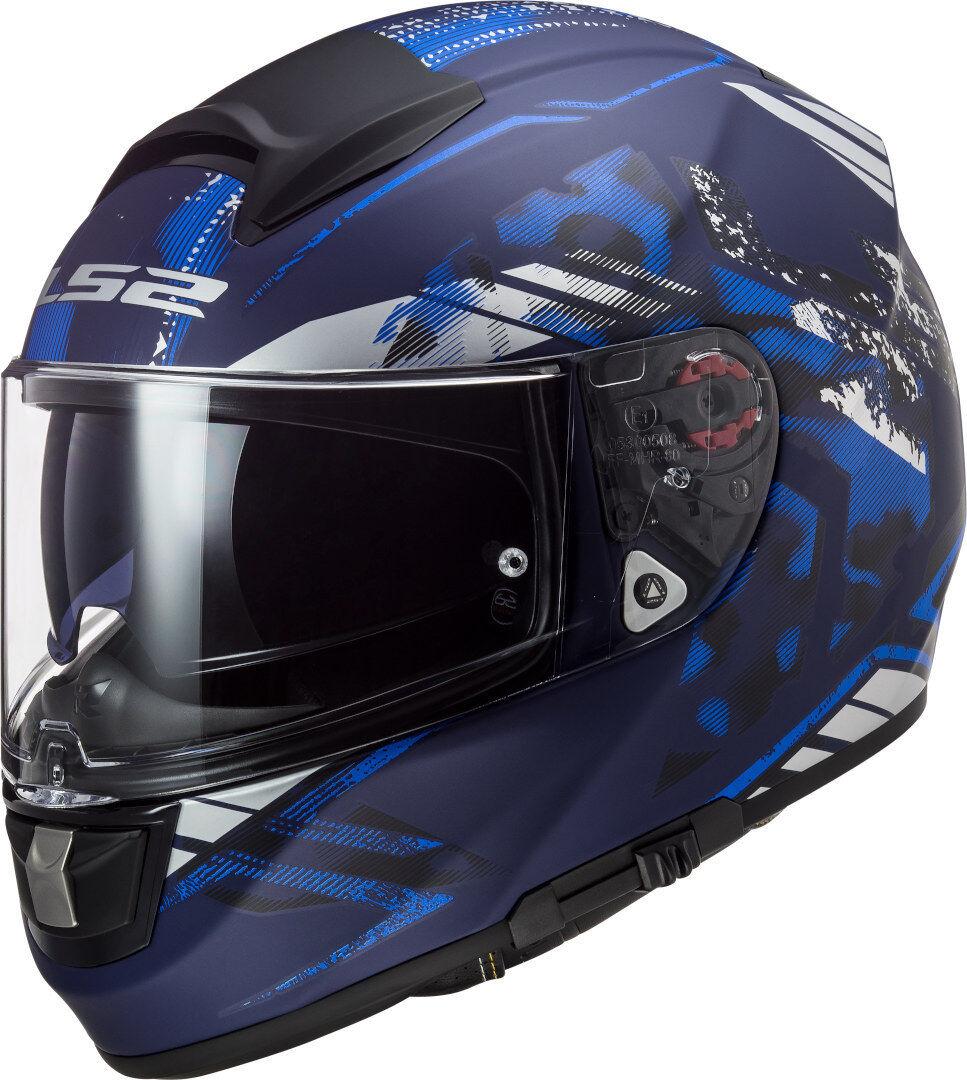 LS2 FF397 Vector Evo Stencil Casco Nero Blu XS