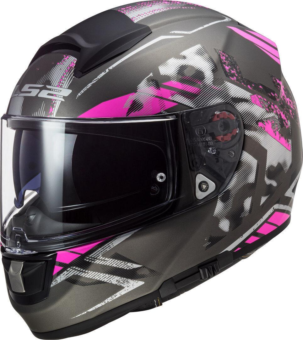 LS2 FF397 Vector Evo Stencil Casco Nero Rosa XS