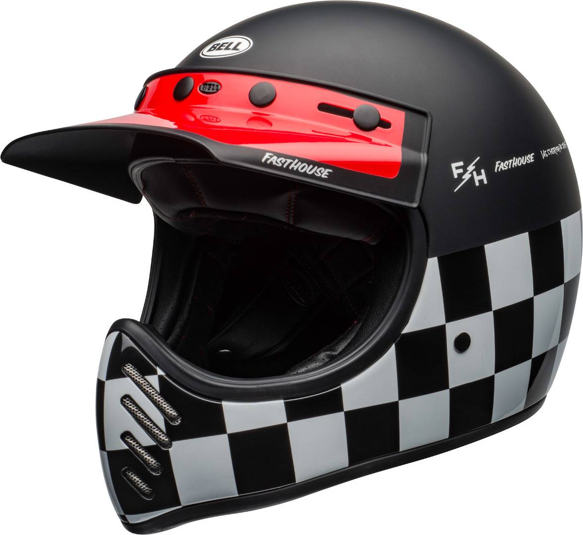 Bell Moto-3 Fasthouse Checkers Trial Casco Nero Bianco Rosso S